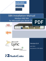LTRT-39153 Mediant 800 SBA for Lync 2010 Installation Manual