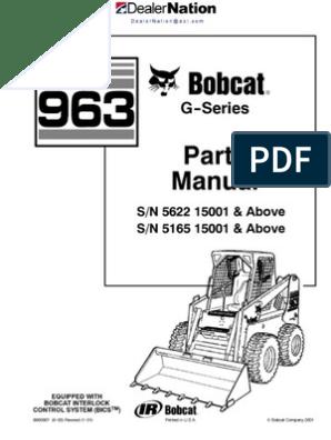 Bobcat 963 Skid Steer Loader Master Illustrated Parts List Manual