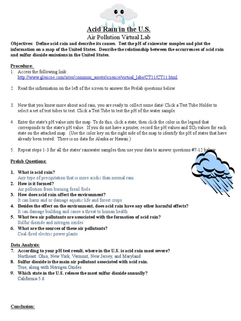 worksheet Ph And Acid Rain Worksheet acid rain virtual lab worksheet air pollution rain