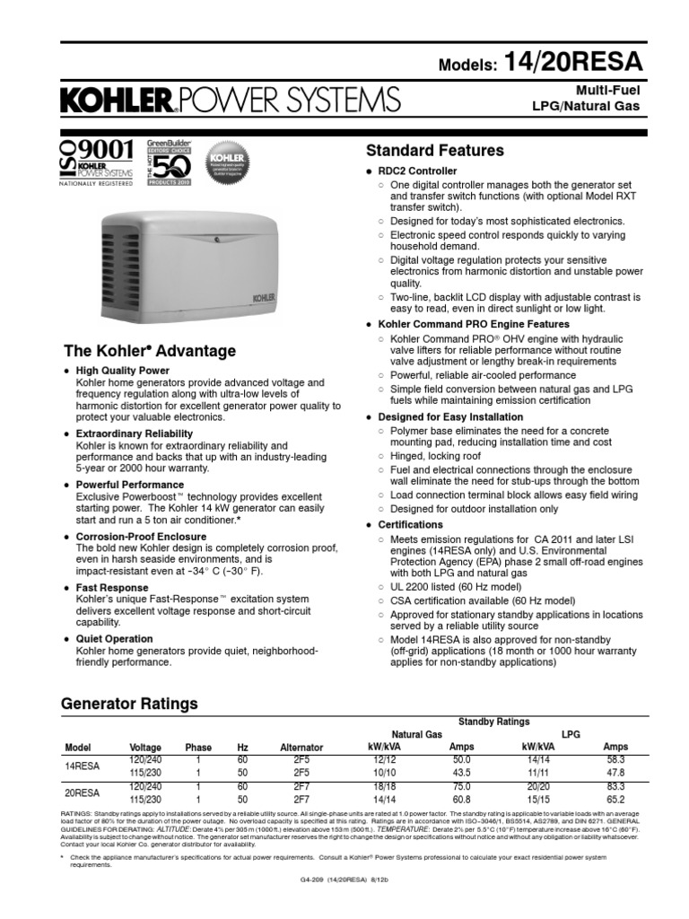 Kohler 14 & 20kW RESA | Internal Combustion Engine | Liquefied Petroleum Gas