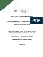 Plan de Negocios Para La Constitución de Una Empresa de Servicios La Botija s.A