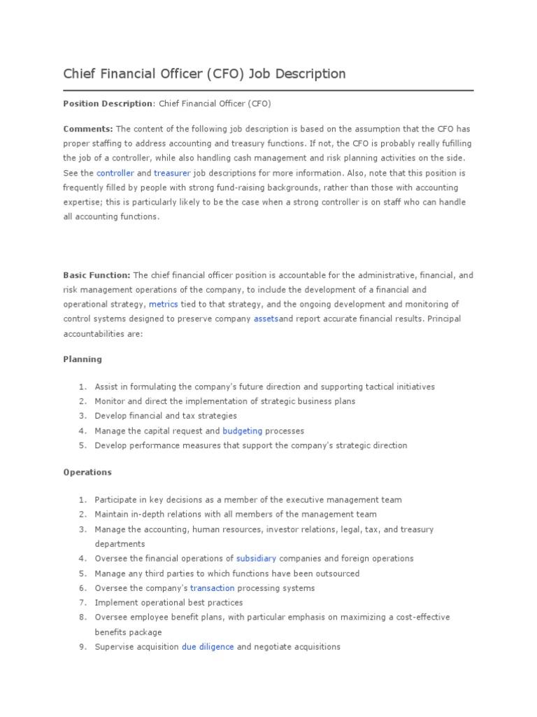 Großzügig Chief Financial Officer Job Description Fotos - Bilder für ...