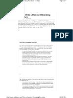 Write a Standard Operating Procedure