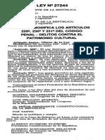 Ley 27244 Mod. Delitos Contra El Patrimonio Cultural