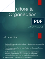 Culture & Organisations