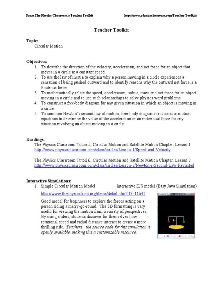 Circular motion worksheet physics answers
