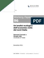 Carrosio G., Osti G. (2011), Un'analisi ecologica dell'economia civile del Nord Italia