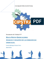 CIPSTRA - Documento de Trabajo Nº 7. Hacia Un Nuevo Sindicalismo. Avances y Desafíos de Las Dirigencias Sindicales