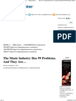 TEXTO 1 the Music Industry Has 99 Problems. and They Are...
