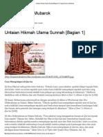 Untaian Hikmah Ulama Sunnah [Bagian 1] _ Kajian Islam Al-Mubarok