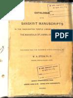 Sanskrit Manuscripts in Raghunath Temple Library - M.a. Stein_Part1