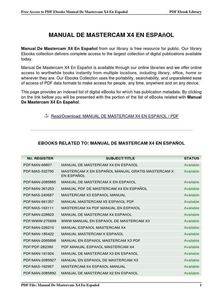 manual de mastercam x4 en espanol rh scribd com Mastercam CNC Programming manual mastercam x3 español pdf