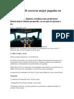 Conoce Las 10 Carreras Mejor Pagadas en México