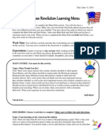 learning menu american revolution