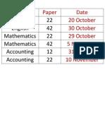 November 2014 Timetable