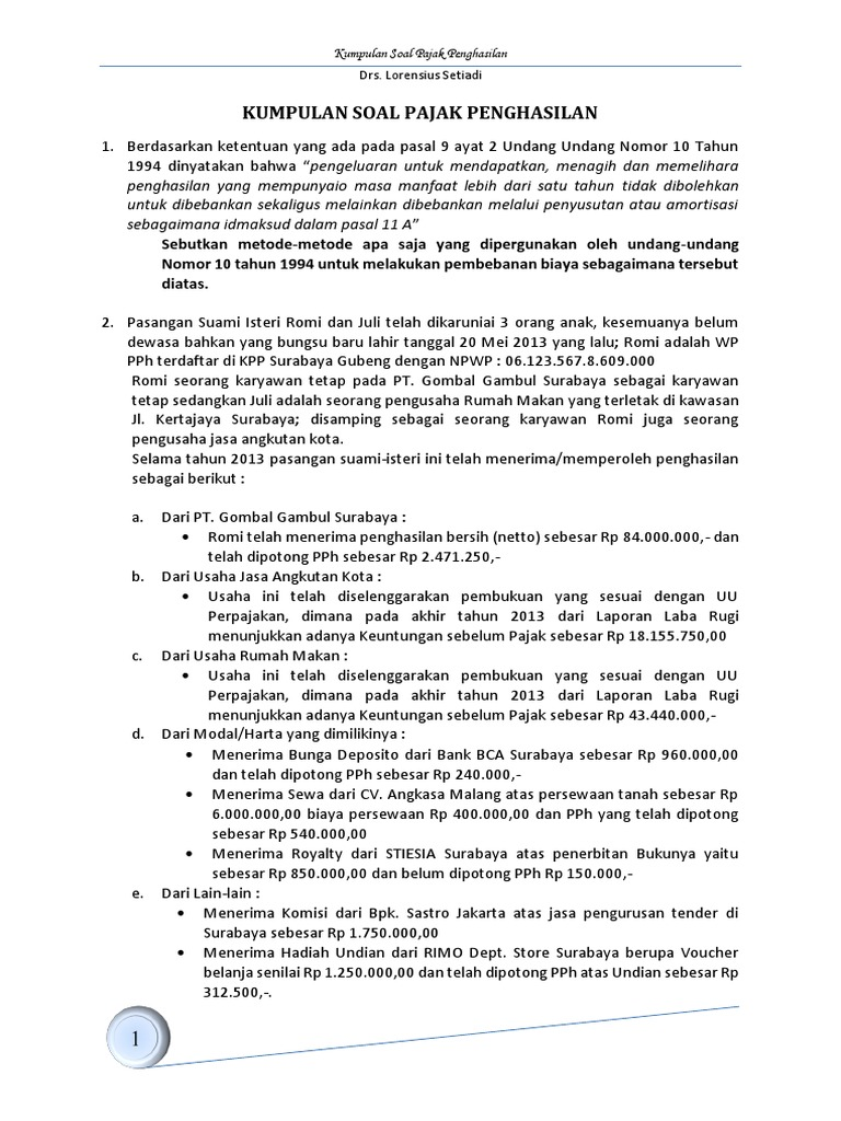 Kumpulan Soal Pajak Penghasilan 2014 1