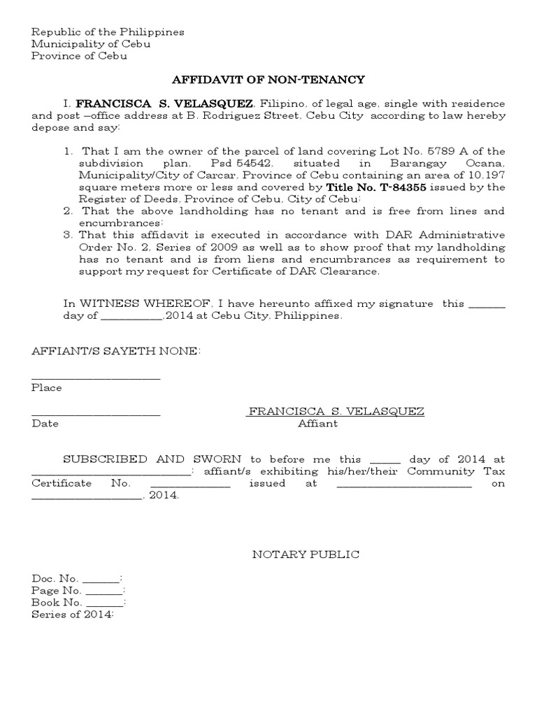 Affidavit Of Non Tenancy