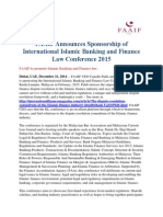 FAAIF Announces Sponsorship of International Islamic Banking and Finance Law Conference 2015