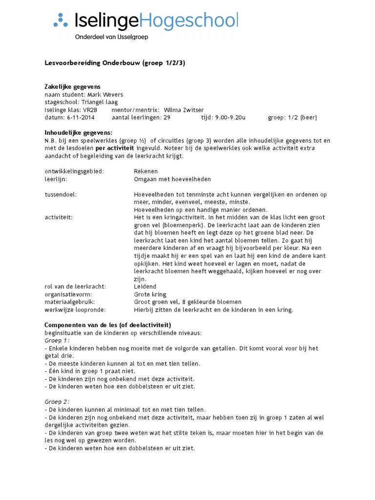 Beste lesvoorbereidingsformulier 6-11 bloemenperk ZF-23