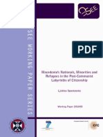 Macedonia National Minorities and Refugees in the Post-communist Labyrinths of Citizenship