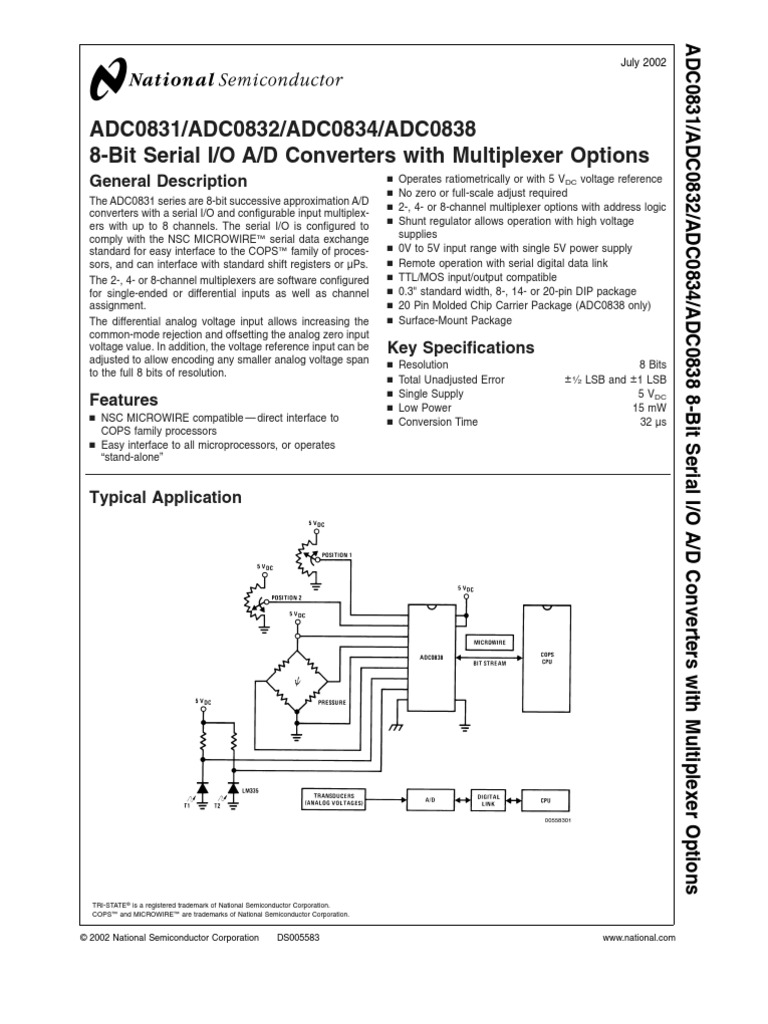 Adc0831 Adc0832 Adc0834 Adc0838 8 Bit Serial I O A D Converters With General Block Diagram Of Multiplexer Analog To Digital Converter Power Supply
