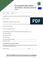 formulário de candidatura - intercâmbios
