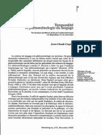 Temporalite Et Phenomenologie Du Langage - Coquet