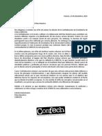 Carta de aclaración de la relación entre la CONFECH y el Plan Maestro