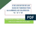 DEDUCCION DE LA FORMULA DE WILLIAMS Y HAZEN PARA FLUJO TURBULENTO EN EL AGUA