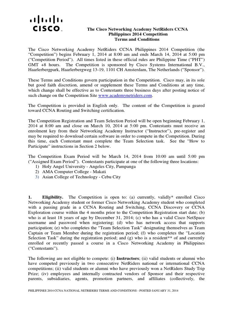 Rules 2014 Netriders Apac Ccna Ph Test Assessment Computing
