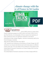 Discussing Climate Change With the Ambassador of France in Sri Lanka