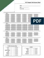 ACT Answer Sheet