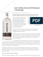Khortytsa Platinum Vodka Scores 94 Rating at Ultimate Spirits Challenge
