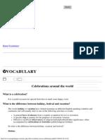 English Vocabulary - Celebrations