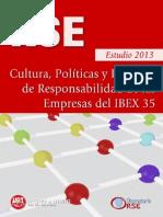 Estudio Cultural 2013 Cultura, Políticas y Prácticas de  Responsabilidad Social de las Empresas del IBEX 3