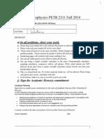 Fall 2014 Final Exam Solutions
