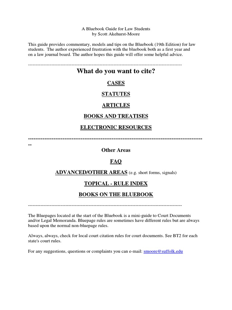 A Bluebook Guide For Law Students Case Citation United States Code