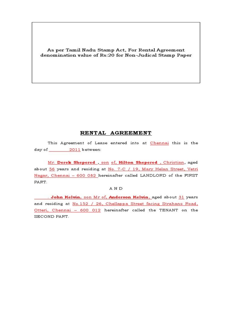 Rental Agreement Leasehold Estate Landlord