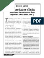 The Constitution of India Amendment Procedure and Some Important Amendments (Part I)