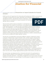 Impact Evaluation for Financial Inclusion- CGAP