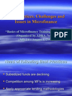 Best Practices, Challanges and Issues in Micro Finance (Ganes