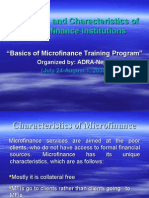 Key Principle and Characteristics of Micro Finance