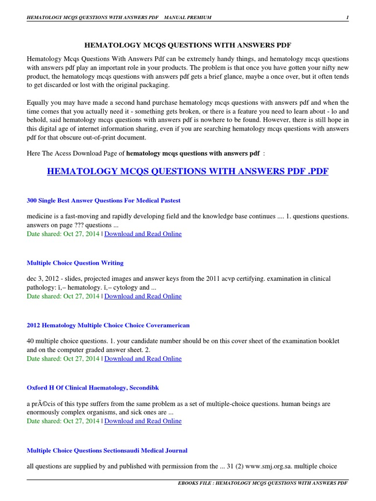 HEMATOLOGY MCQS QUESTIONS WITH ANSWERS PDF   Hematology mcqs ...
