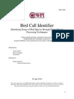 Bird Call Identification MQPlknjkn 2010