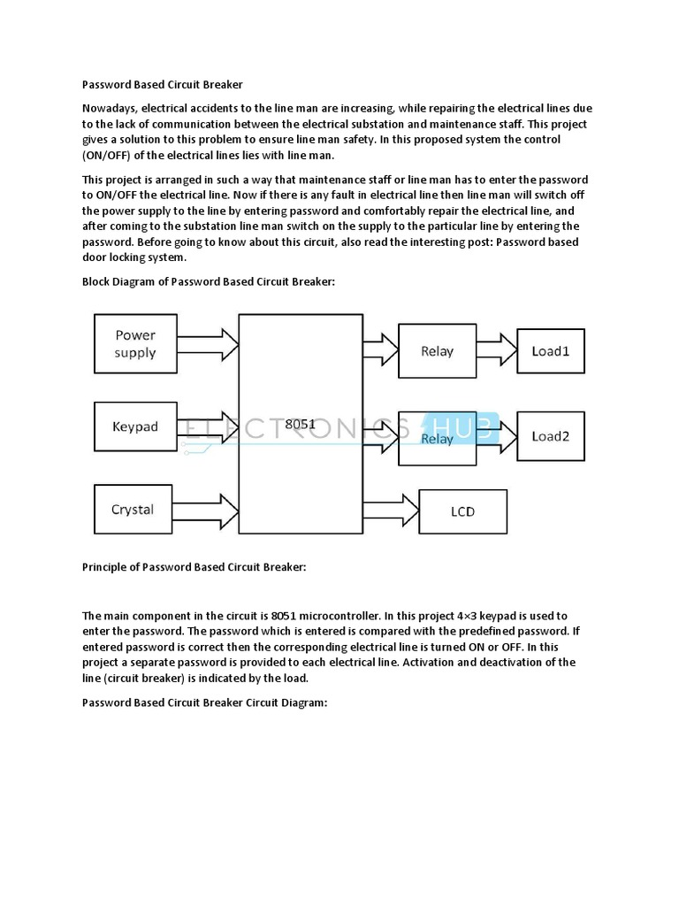 Password Based Circuit Breaker Electric Power Transmission Relay Electrical Projects With Diagram