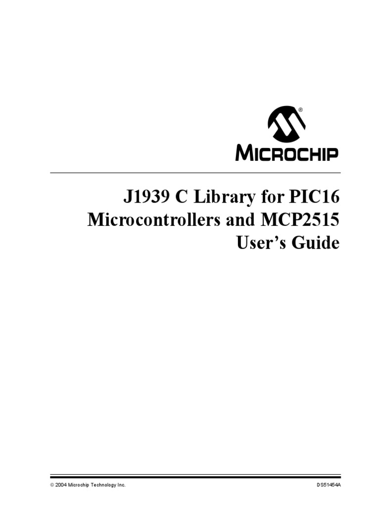 J1939 Lib for PIC16 MCP2515 pdf | Pic Microcontroller | Library