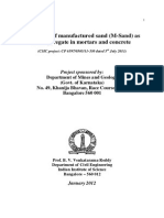 Suitability of Manufacture Sand (M-Sand) as Fine Aggregate in Mortars and Concrete