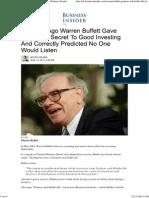 Warren Buffett Graham and Doddsville Lecture