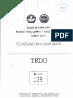 SOAL SBMPTN 2013 TKDU KODE 123