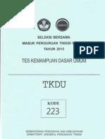 Soal SBMPTN 2013 TKDU Kode 223